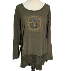 Olive Green Long Sleeve Top Graphic Size L